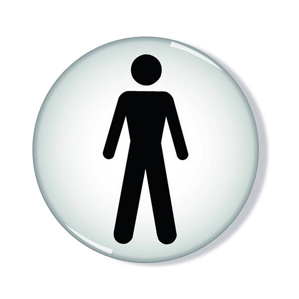 Domed Sign Men Symbol 60mm (Self-Adhesive backing, black figure on white background) RDS2