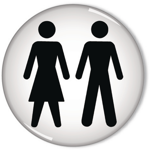 Domed Sign Women and Men Symbol 60mm RDS3