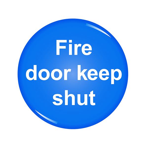 Domed Sign Fire Door Keep Shut Symbol 60mm RDS9