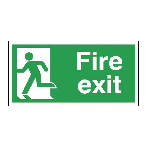 Safety Sign Fire Exit Running Man Left 150x300mm Self-Adhesive E96A/S