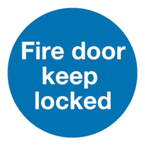 Safety Sign Fire Door Keep Locked 100x100mm Self-Adhesive (Pack of 5) KM72A/S