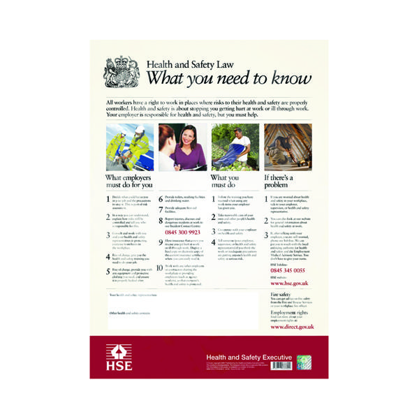 HSE Health And Safety Law Poster A2 FWC30
