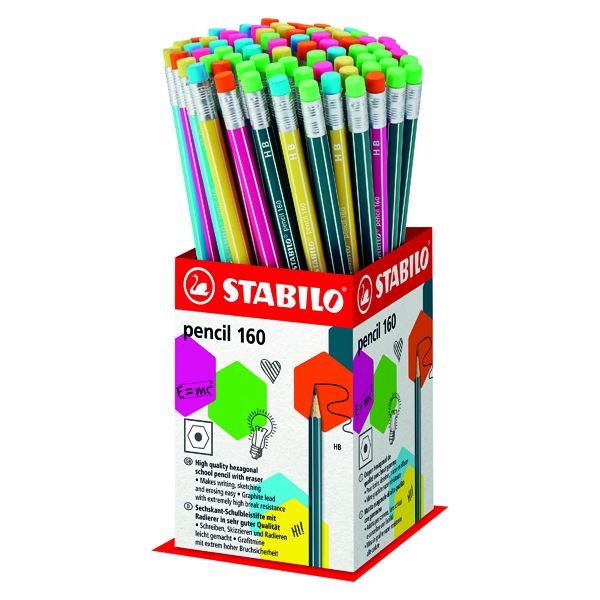 Stabilo 160 Pencil with Eraser Mini Display (Pack of 72) 2160/72-1HB
