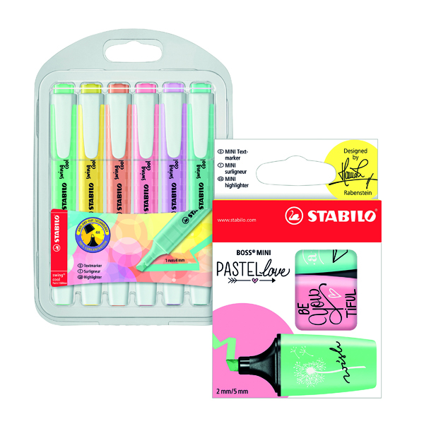 Stabilo Swing Cool Pastel Highlighter (Pack of 6) FOC Boss Mini Pastel (Pack of 3) SS811685