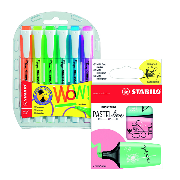 Stabilo Swing Cool Highlighters (Pack of 6) FOC Boss Mini Pastel (Pack of 3) SS811686