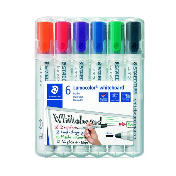 Staedtler Lumocolor 351 Drywipe Marker Assorted (Pack of 6) 351 WP6