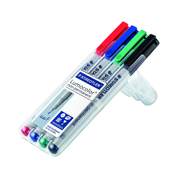 Staedtler Lumocolour Non-Permanent Fine Assorted (Pack of 4) 316-WP4