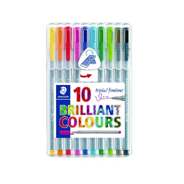 Staedtler Triplus Fineliner Pen Assorted Colours (Pack of 10) 334 SB10