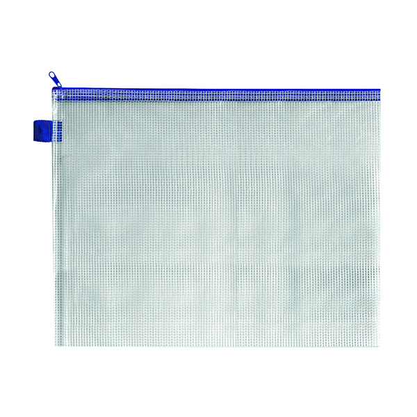 BDS Mesh Zip Bag 360x275mm Blue (Pack of 5) ZIPPER BLUE