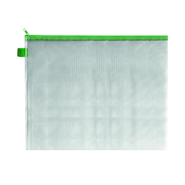 BDS Mesh Zip Bag 405x315mm Green (Pack of 5) ZIPPER GREEN