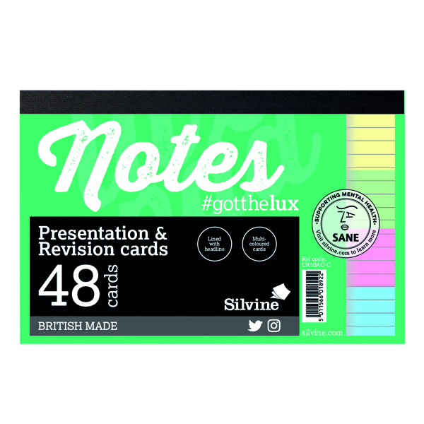 Silvine Revision Presentation and Note Cards Assorted CR50AC-C