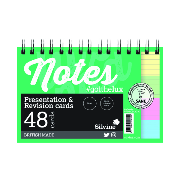Silvine Revision Presentation and Note Cards Twin AssortedPADRC64AC-C