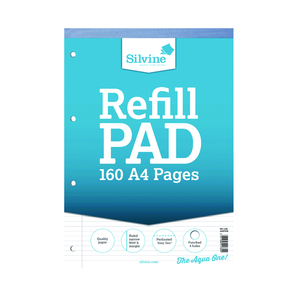 Silvine Narrow Ruled Headbound Refill Pad A4 (Pack of 6) A4RPNM