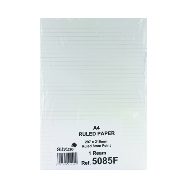 Silvine Feint Ruled Unpunched Fly Paper A4 (Pack of 500) 5085FEINT