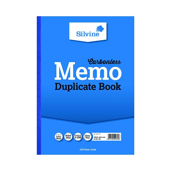 Silvine Carbonless Duplicate Memo Book A4 (Pack of 3) 714
