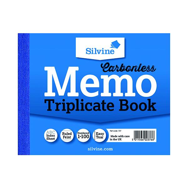 Silvine Carbonless Triplicate Memo Book 102x127mm (Pack of 5) 707
