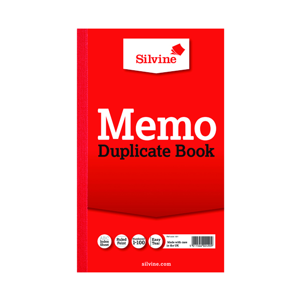 Silvine Duplicate Memo Book 210x127mm (Pack of 6) 601