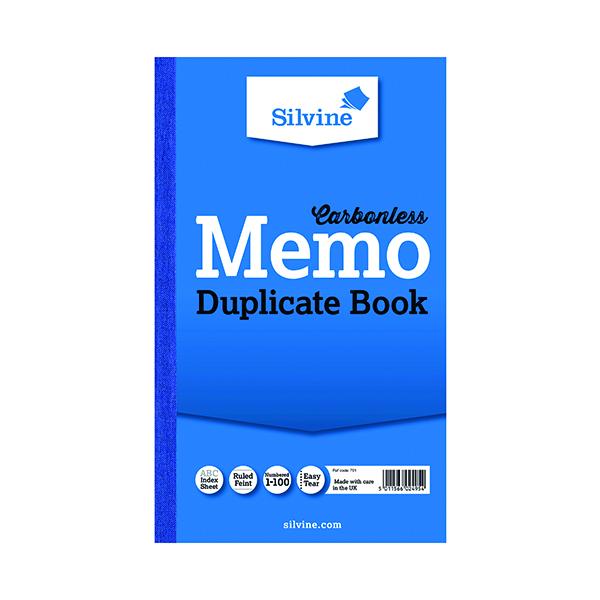 Silvine Carbonless Duplicate Memo Book 210x127mm (Pack of 6) 701-T