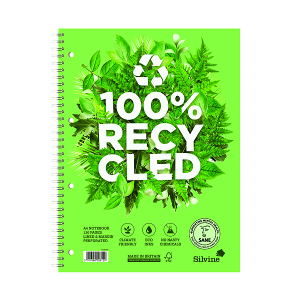Silvine Premium Recycled Wirebound Notebook A5 (Pack of 5) R103