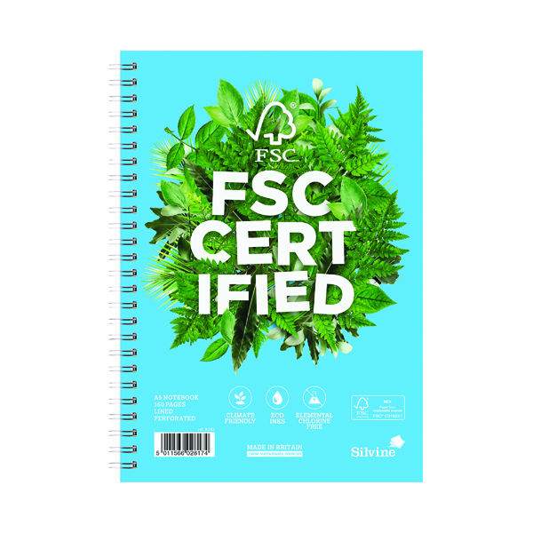 Silvine Premium Envrio Ruled Notebook A5 160 Pages (Pack of 5) R203