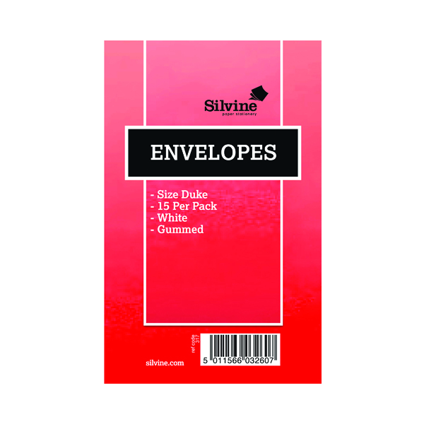 Silvine Duke Pre-Glued Envelopes (Pack of 36) 101-0174