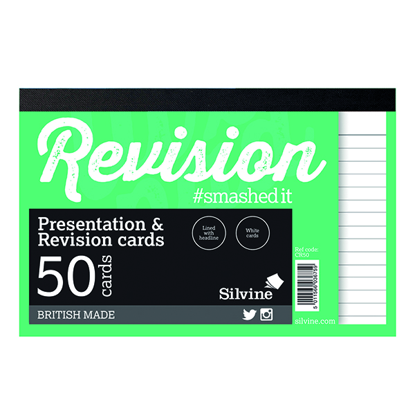 Silvine Revision Card Notepad 50 Card White (Pack of 20) CR50