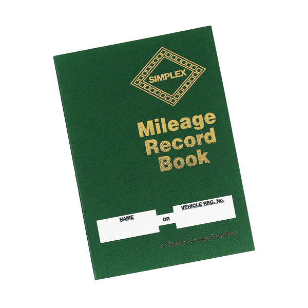 Simplex Mileage Record Book (Made from 100% recycled paper, Hardback cover) MRB