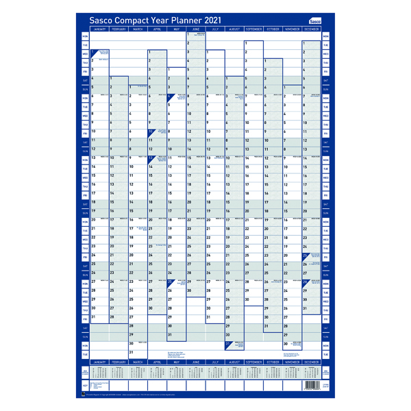 Sasco Compact Year Planner Portrait Unmounted 2021 2410133