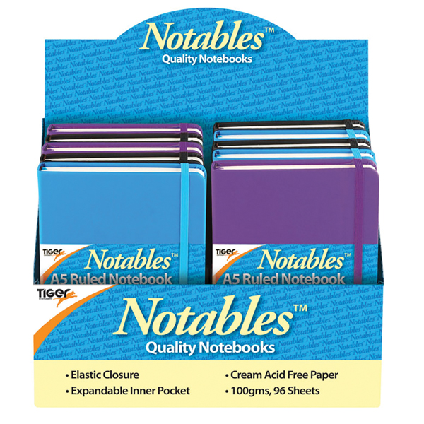 Notables A5 Ruled Casebound Notebook 96 Sheets Assorted (Pack of 10) 301354