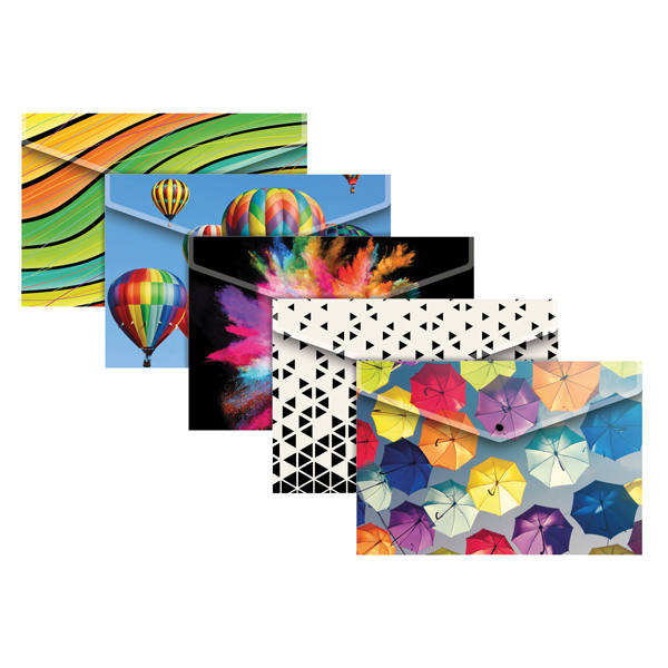 A4 Plus Fashion Press Stud Wallets In Assorted Colours (Pack of 25) 301647