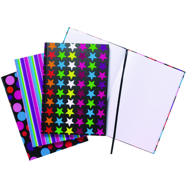 A4 Fashion Assorted Feint Ruled Casebound Notebooks (Pack of 5) 301650