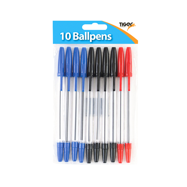 Tiger Ballpoint Pens, Black, Blue and Red (Pack of 120) 302011