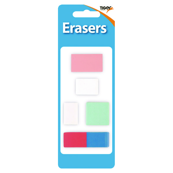 60 x Tiger Assorted Design Erasers (Assorted sizes, perfect for schools) 302022
