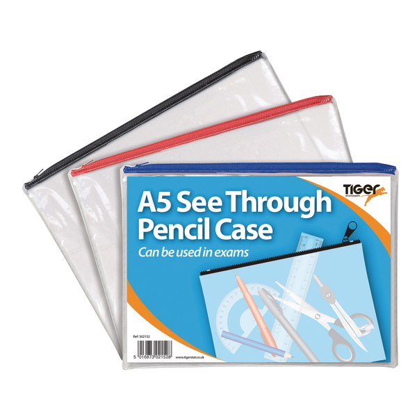 See Through Pencil Case 245 x 160mm (Pack of 12) 302152