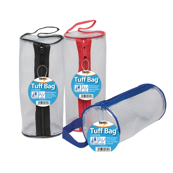 12 x Tuff Bag Cylinder Pencil Case (Water resistant with zip fastening) 301341