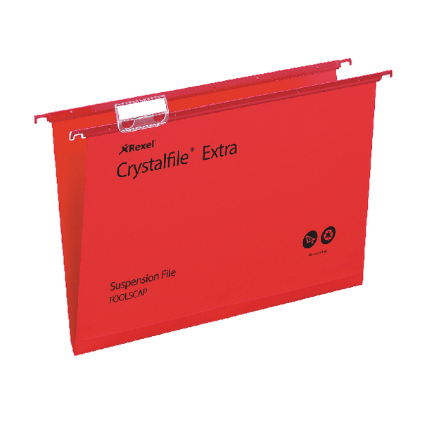 Rexel Crystalfile Extra 15mm Suspension File Red (Pack of 25) 70629