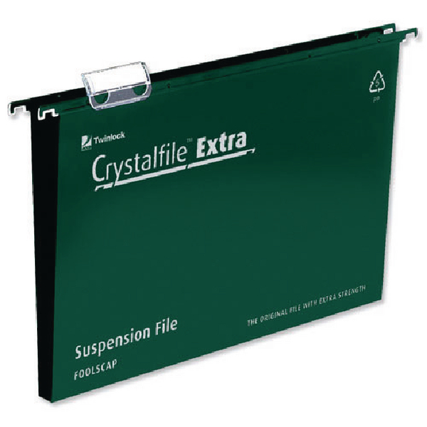Rexel Crystalfile Extra 30mm Suspension File Green (Pack of 25) 70631