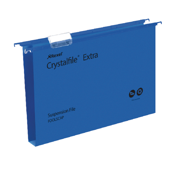 Rexel Crystalfile Extra 30mm Suspension File Blue (Pack of 25) 70633