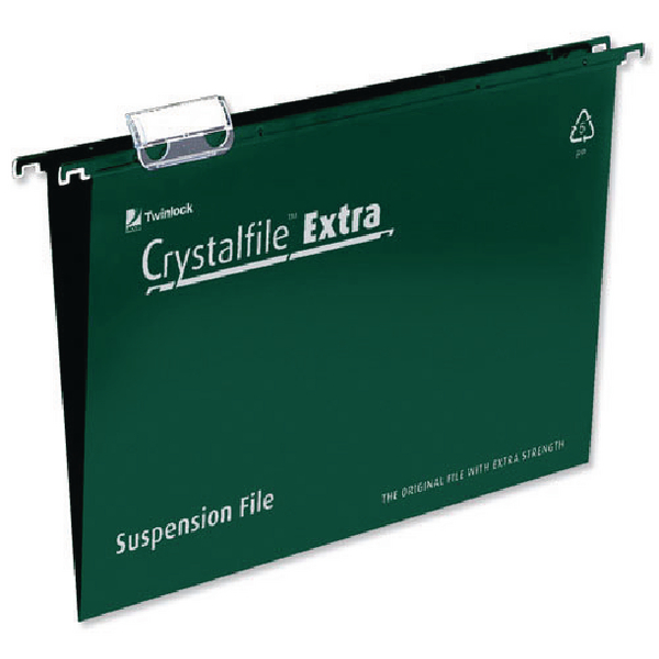Rexel Crystalfile Extra 15mm Suspension File A4 Green(Pack of 25)70634