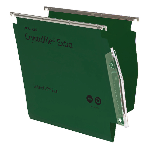 Rexel CrystalFile Extra 15mm Lateral File Green (Pack of 25) 70637