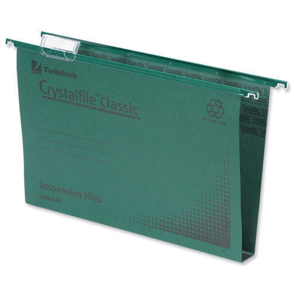 Rexel Crystalfile Classic Suspension File 50mm Green(Pack of 50)71750