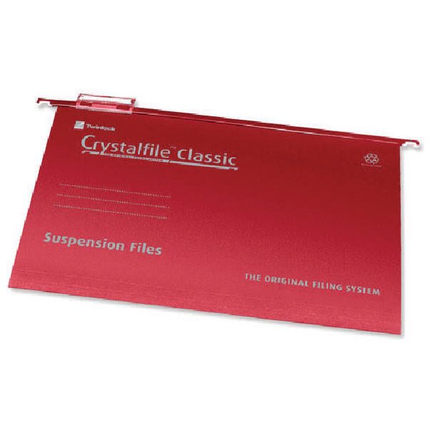 Rexel Crystalfile Classic SuspensionFile Foolscap Red(Pack of 50)78141