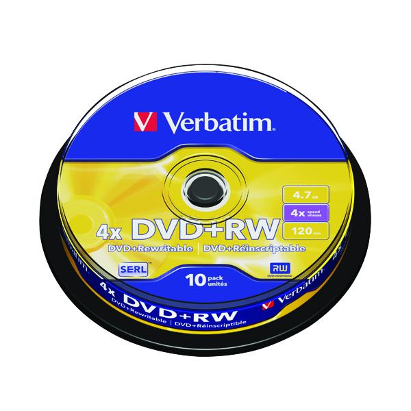 Verbatim DVD+RW Non-Printable 4x 4.7GB (Pack of 10) 43488
