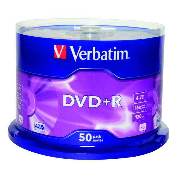 Verbatim DVD+R Non-Printable Spindle 16x 4.7GB (Pack of 50) 43550