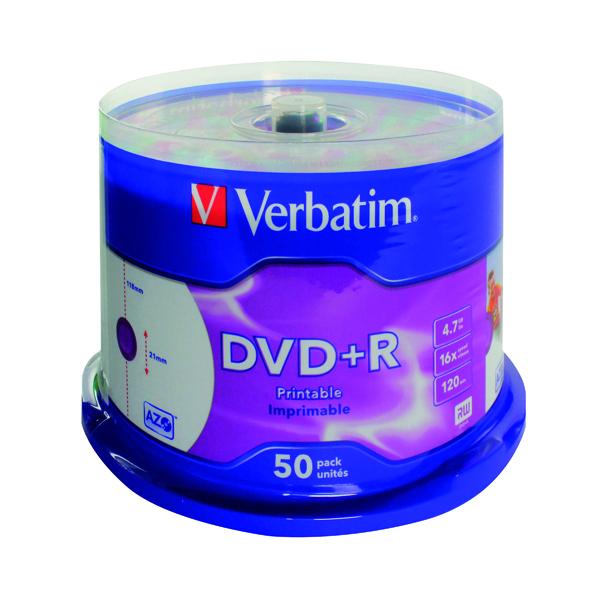 50 x Verbatim 4.7GB 2x Speed DVD+R (Write a full DVD in just 4 minutes) 43234