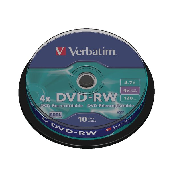 Verbatim DVD-RW Spindle 4x 4.7GB (Pack of 10) 43552