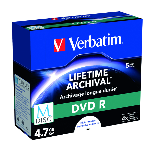 Verbatim M-Disc DVD R 4.7 GB 4x Printable Jewel Case (Pack of 5) 43821