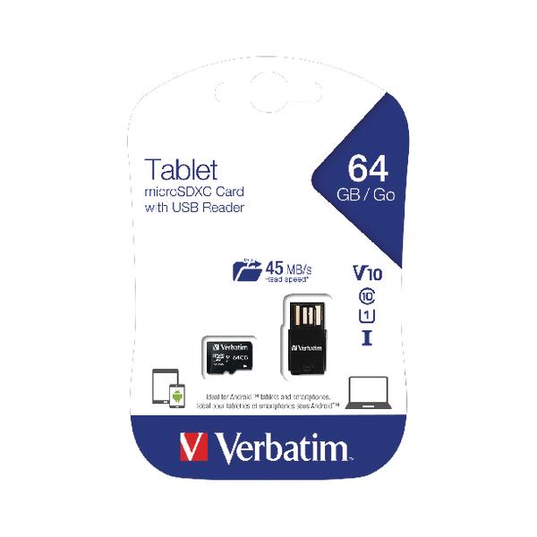 Verbatim Tablet Micro SDHC Card 64GB with USB Reader 44060