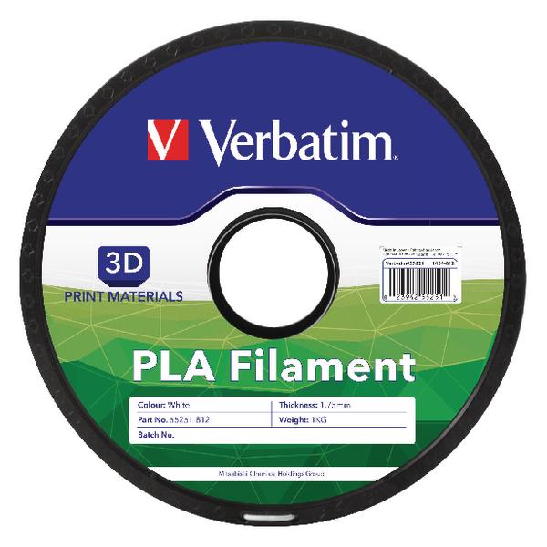 Verbatim PLA 3D White Printing Filament Reel 1.75mm 1kg 55251