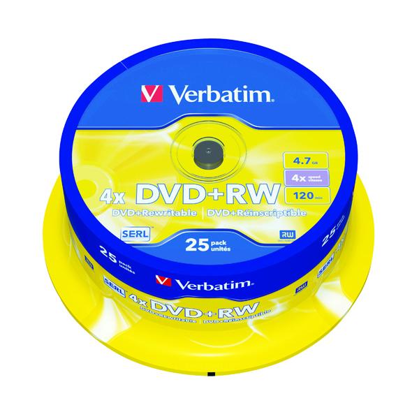 Verbatim DVD+RW Spindle 4x 4.7GB (Pack of 25) 43489